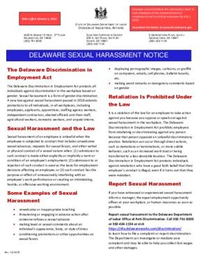 delaware delaware sexual harassment notice small