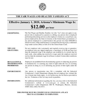 arizona  minimum wage poster english  small