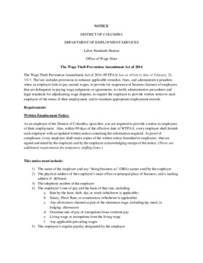 district of columbia notice of wage theft prevention amendment act of  small