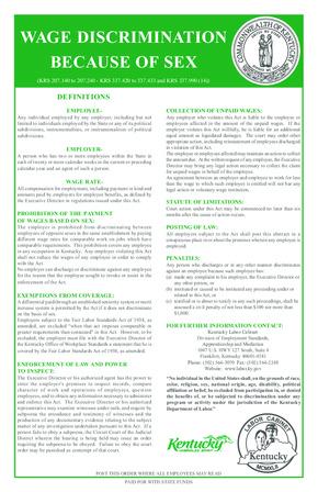 kentucky ky wage discrimination poster english small