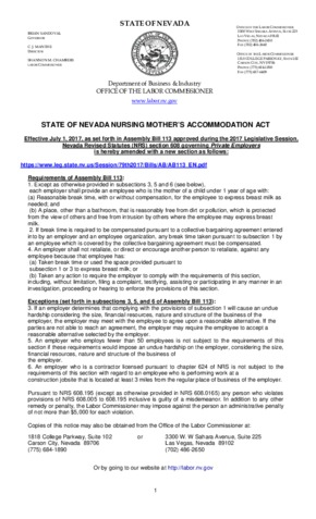 nevada nursing mothers accomodation act small