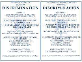 south carolina schac discrimination poster small