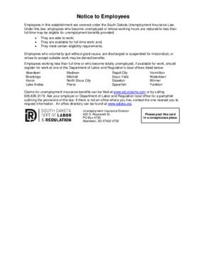 south dakota posting notice to employees small