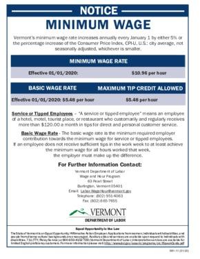 vermont minimum wage poster small