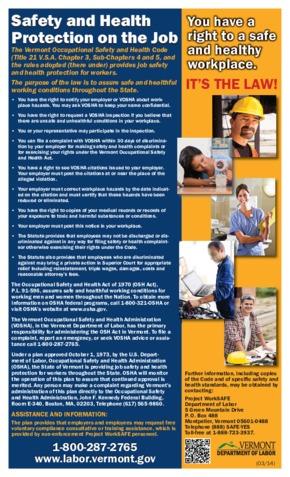 vermont vosha safety poster small